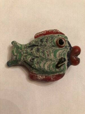 "Rare Ancient Phoenician Hand Made Mosaic Glass ""Fish"" Pendant Bead"