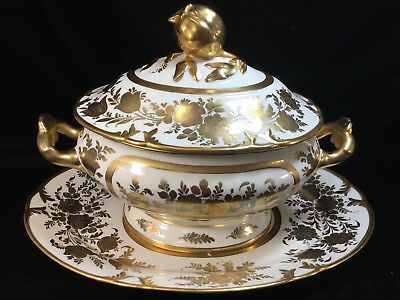 "Large 14"" OLD PARIS PORCELAIN 3-Piece COVERED SAUCE TUREEN with GOLD FLORALS"