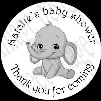 Personalised baby shower stickers Goodie bags,thank you gifts labels, Elephant