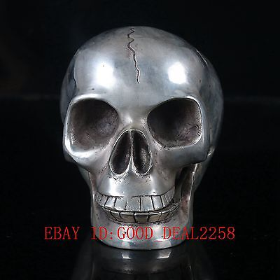 Chinese Silver Copper Handwork Carved Skull Head Statue BT006