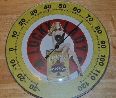 Lucky Lady Motor Oil Thermometer Sign Round Glass Front Sexy Lady Nice