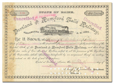 Portland and Rumford Falls Railway Certificate (Maine Central)