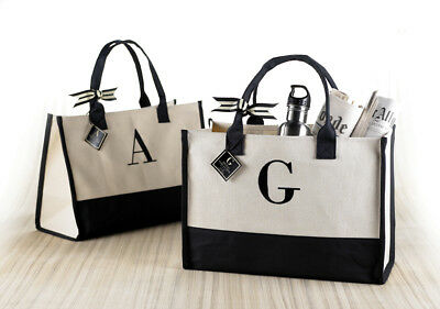 Mud Pie E8 Women's Natural & Black Initial Canvas Tote Bag - Choose Letter