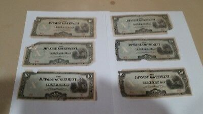 "The Japanese Government ""ten Pesos Banknote"" Wwii Era, Lot Of 6, Good!"