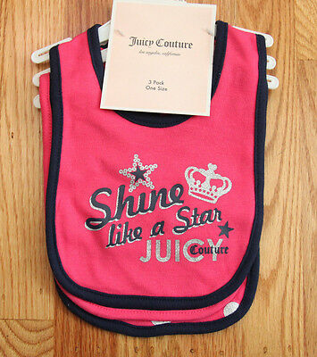 Juicy Couture Baby Girl 3 Piece Bib Set ~ One Size ~ Shine like a Star ~