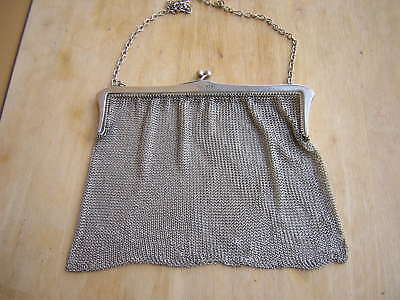 Large Heavy Antique Vintage British English Sterling Silver Mesh Chain Purse