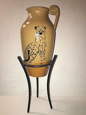 Leopard Decor Cast Iron Urn with Stand