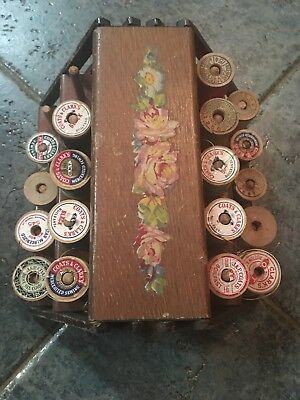 Antique Old Vintage Wooden Spool Holder Clark's Coats Expandable Threads Include