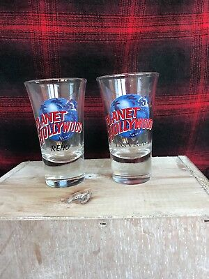 """Planet Hollywood Fluted Shot Glass """"Las Vegas"""" and """"Reno"""""""