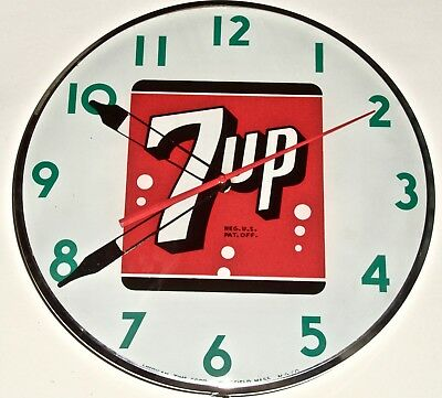 "Vintage  7 -Up Clock Dated ""dec 1948""  Works Well And Is Quiet"