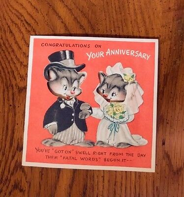 Vintage Unused Hallmark Anniversary Greeting Card Mouse Mice Couple Cut Out Cute