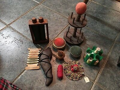 Antique Old Vintage Pin Cushions Needle Holder Sewing Kits Lot Celluloid