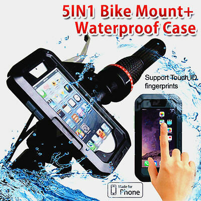 Waterproof Motorcycle Bicycle Handlebar Mount Holder Case iPhone X 6 7 8 + S6 S7