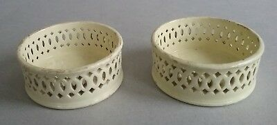 Rare Pair of 18th c. Creamware Wine Coasters