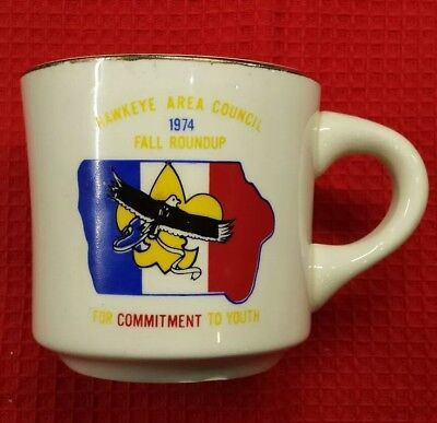1974 Boy Scouts Hawkeye Area Council Fall Round Up Coffee Cup / Mug China