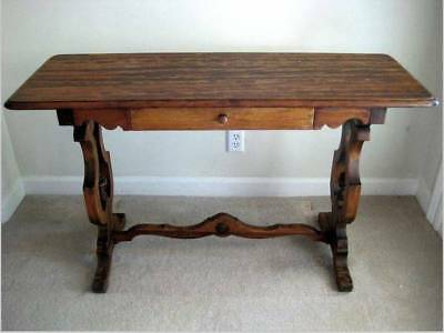 ANTIQUE Late 1800s Solid Burl Walnut? Wood Library Table Drawer GOOD Condition