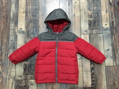 6cc01477f BOYS GYMBOREE WINTER Coat NEW Gray Red PUFFER Hood NWT JAcket Size ...