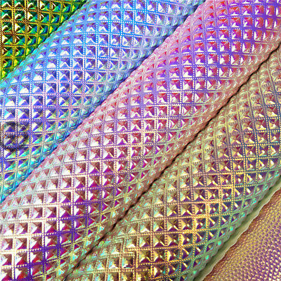 Holographic Leather Faux Vinyl Fabric Upholstery Metallic Beaded Crafts Material