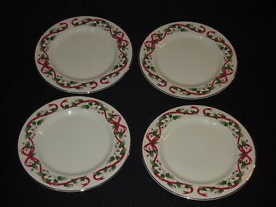 "4 ROYAL LIMITED Holly Holiday with Red Ribbon Pattern 7 1/2"" Salad Plates"