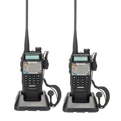 2 Pack UV-5XP Baofeng Two-Way Radio 8W USB Walkie Talkie VHF/UHF + Free Earphone
