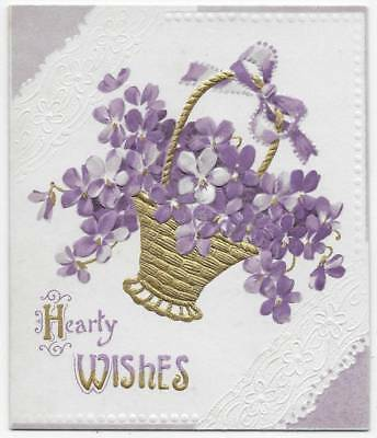 Antique, Vintage Victorian Card ~ Golden Basket Of Purple Forget-Me-Nots