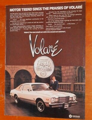 Sharp 1976 Plymouth Volare Coupe Ad & Amc Pacer On Back / Vintage American 70S