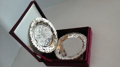Set of 8 Beautiful Silver Plated Coasters in a Velvet Box