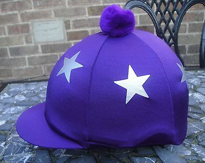 Lycra Riding Hat Silk Skull cap Cover PURPLE * SILVER STARS * With OR w/o Pompom