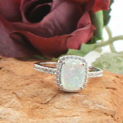 Fire Opal Ring 925 Sterling Silver Filled Cubic Zirconia - Women Engagement Ring