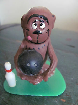 Vintage Aviva Novelty Monkey With a Bowling Ball and Bowling Pin Figurine