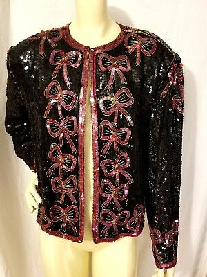 Vintage 80s JASJAS Sequined Beaded Silk Jacket Bow Motif XL Gorgeous Black Red