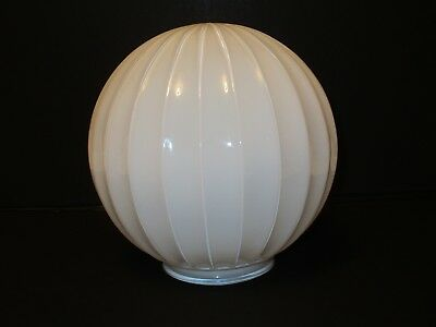 """Vintage Deco White 8"""" Glass Vertical Ribbed Round Ceiling Light Fixture Globe"""