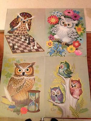 1973 K.Chin owl lithographs Set Of 4