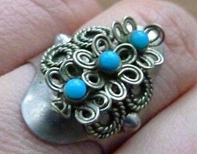 Vintage Russian Ring Filigree Stones Jewelry USSR 1970s Women Size 7 Unusual Old