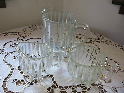 Vintage Heavy Clear Glass Pitcher Creamer Sugar Bowl