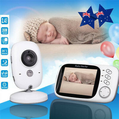 5V 2.4G Wireless Digital 3.2'' LCD Baby Monitor Camera Audio Video Night Vision