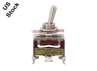 3-Pin Position ON-OFF-ON Spring Return Momentary Metal Toggle Switch 15A 250V AC