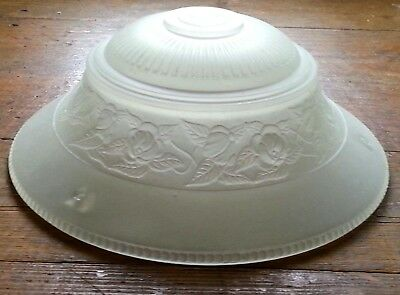 Vintage Art Deco Clear Frosted Glass Lamp Shade 3 Chain Hanging Ceiling Fixture