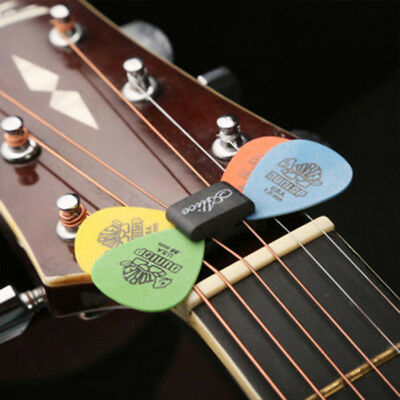 Guitar HeadStock Rubber Pick Holder & 0.81mm 2x Plectrums Celluloid Guitar Picks