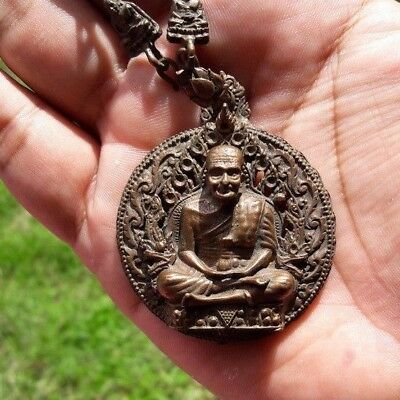 LP Tuad Thai Buddha Amulet Brass Coin necklace brown old pendant sacred rare