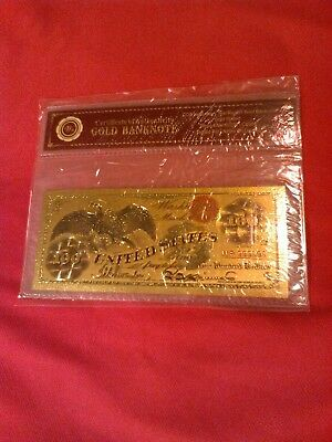 $100 Gold Banknote Certificate of Authenticity U.S. Bullion Dollar Money Notes
