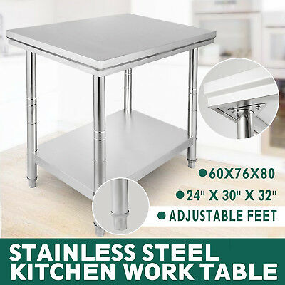 "30""x24"" Commercial Stainless Steel Kitchen Work Table Bench Catering 2.5FTx2FT"