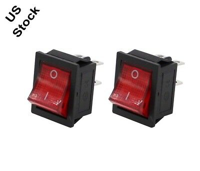 2x Square Rocker Switch Red 4-Pin DPST On/Off Snap-In 15A/250V 20A/125V AC