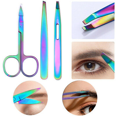 Rainbow Stainless Steel Eyebrow Tweezer Scissor Eyelashes Face Hair Remover Tool