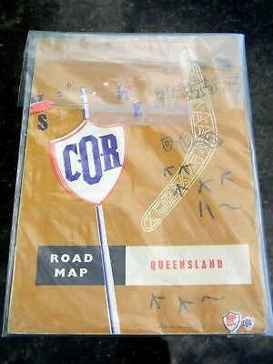 Vintage COR (BP) Gas/Oil Road Map of Queensland 1950's in Miles - 1st Edition