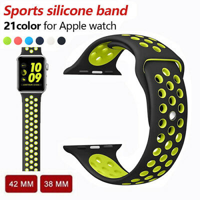 Replacement Silicone Sports Band Bracelet Strap For Apple Watch iWatch 38mm/42mm