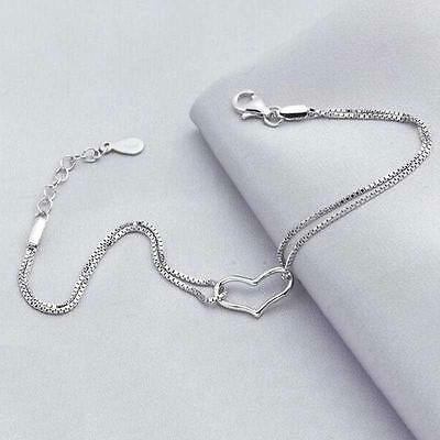 2Pcs 925 Sterling Silver Heart Love Bracelet Link Chain Bangle Jewelry CZ &Y