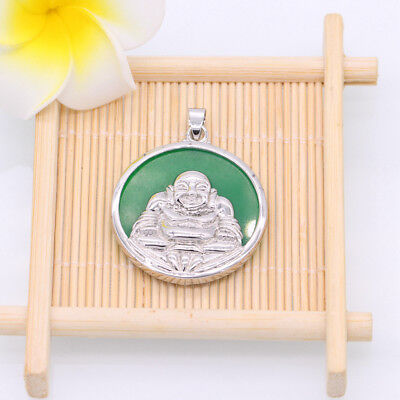 Lucky Jewelry Round Jade 18K White Gold Plated Buddha Pendant Necklace bdb5a79f06a