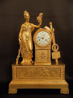 Antique French Empire gilt bronze mantel clock with Goddess of harvest and art c
