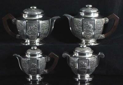 RARE antique Chinese Export solid Silver Tea & coffee Set DRAGONS 1630 grams